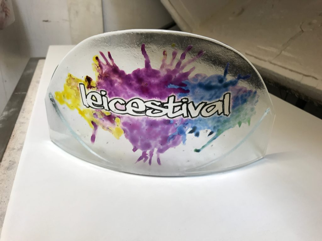 A handpainted trophy for a festival in Leicester