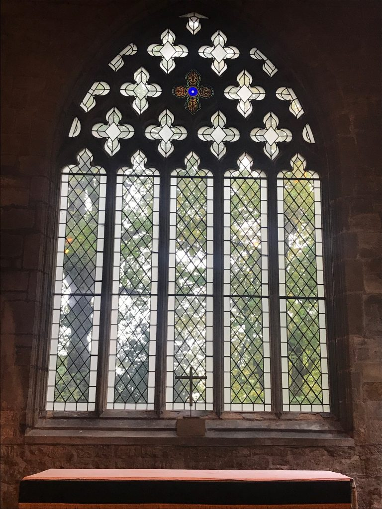 The restored east window At St Andrews Church, Kegworth