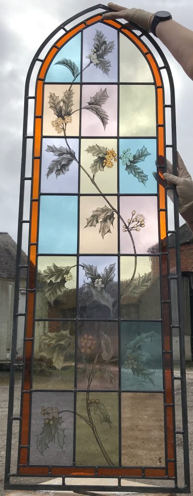 The centre panel of three new stained glass windows for a house in Epping