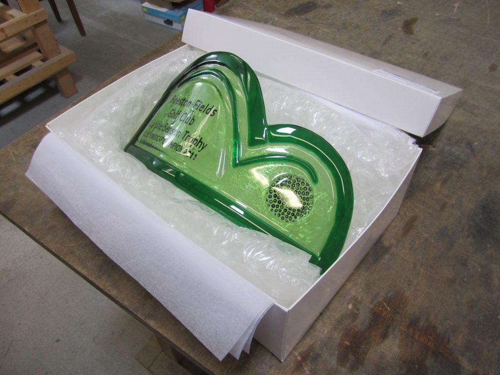 A bespoke fused glass trophy
