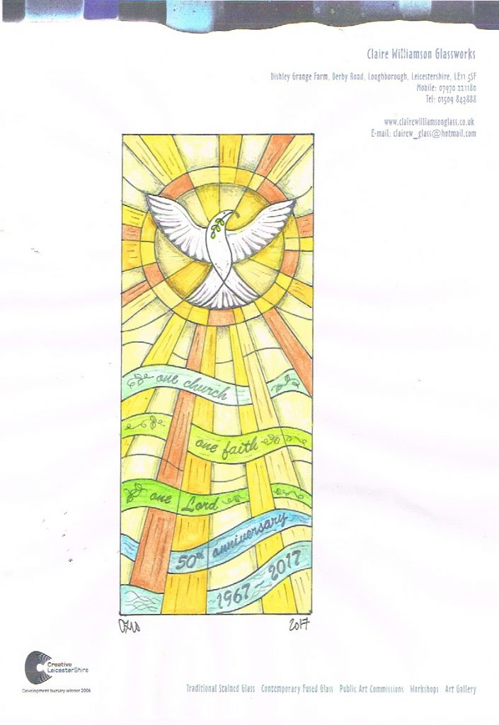 The scale drawing for the Hall lane Methodist church stained glass window.