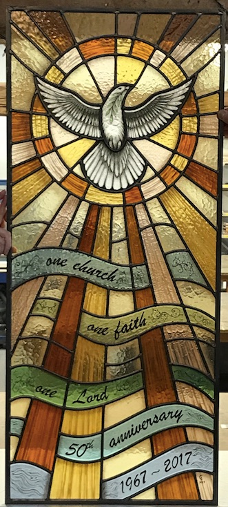 Hall Lane Methodist Church stained glass window for their 50th Anniversary
